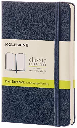Moleskine Classic Notebook, Taccuino con Pagine Bianche, Copertina Rigida e Chiusura ad Elastico, Formato Pocket 9 x 14 cm, Colore Blu Zaffiro, 192 Pagine