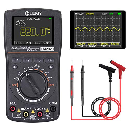 LIUMY Oscilloscope Multimeter, LM2020 New Update, Professional LED Handheld Oscilloscope Multimeter with 2.5 Msps high sampling, Automatic Waveform Capture Function,DC/AC Voltage/Current Test
