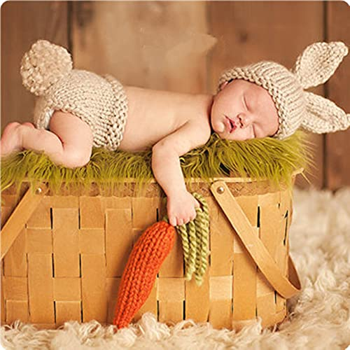 Bebé accesorios de fotografía hechos a mano de punto de ganchillo conejito gorras pantalones foto traje traje prop para niñas recién nacidas 0-6 meses bebé