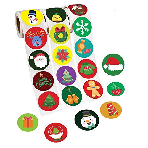 Ranmid Christmas 600 Stickers –– 3 Rolls of 200 Assorted Christmas Stickers Per Roll – 30 Original Christmas Sticker Designs – Self-Adhesive Christmas Decoration Stickers