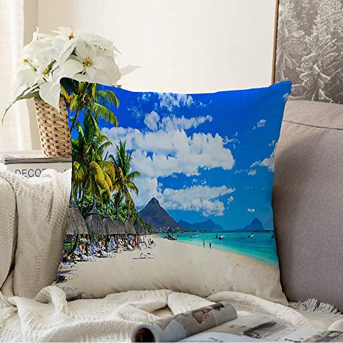 Decorative Throw Pillow Covers for Couch Sofa Bedroom Relaxation Best Ocean Popular Tropical Beaches Seascape Flic En Mauritius Flac Luxury Water Nature Cushion Cover Pillow Cases 18x18 Inch