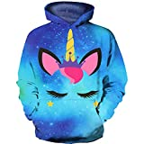 HaniLav Kids Novelty Hoodies 3D Printed Sweatshirt Pullover Pocket,Blue Galaxy Unicorn,9-10T