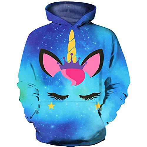HaniLav Kids Novelty Hoodies 3D Printed Sweatshirt Pullover Pocket,Blue Galaxy Unicorn,7-8T