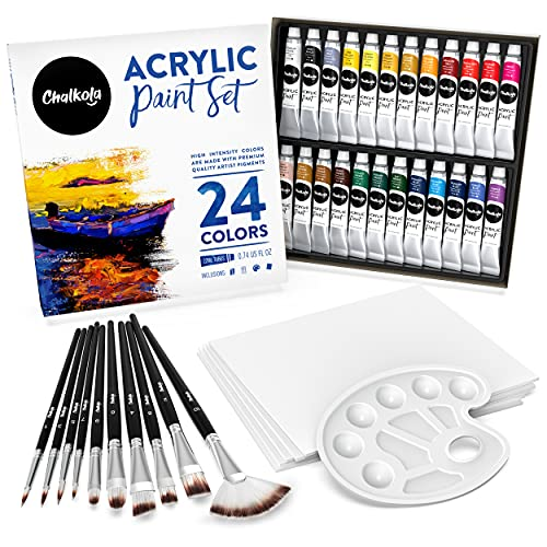 Chalkola Acrylic Paint Set for Adults, Kids & Artists - 40 Piece Acrylic Painting Supplies Kit, with 24 Acrylic Paints (22ml), 10 Painting Brushes, 5 Canvas for Acrylic Painting (8x10) & 1 Palette