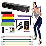 CB FITNESS Pilates Bar Kit with Resistance Bands - Set of 5 Exercise Flex Bands & Carry Bag - Home Gym Equipment for Men & Women - Portable Workout Equipment for Body Toning Squat Yoga & Core Training