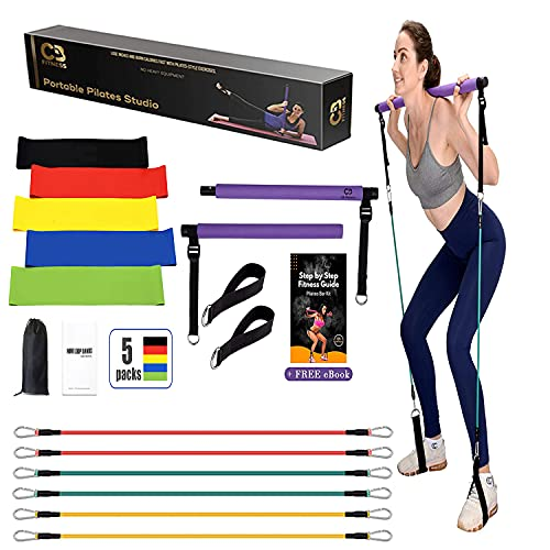 CB Fitness Pilates Stick Bar with Resistance Bands - Set of 3 Exercise Flex Bands & Fit Bar Attachment - Home Gym Equipment for Men & Women - Portable Workout Kit for Body Toning, Yoga & Core Training