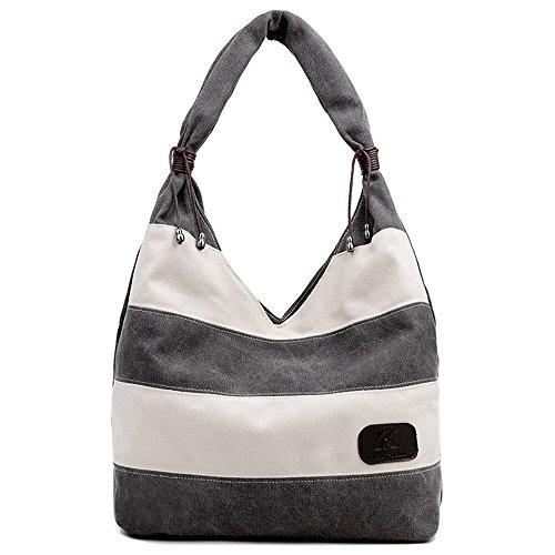 Hiigoo Stripes Stitching Canvas Bags Casual Shoulder Bag Large Shopping Bag Handbags (Grey)