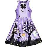 Girls Dress Halloween Party Witch Bat Pumpkin Purple Dress Size 14