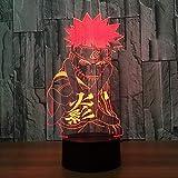 luz de noche 3d Naruto Anime 3D Night Light Lámpara de Mesa Led Creativa 7 Cambio de Color Usb Lámpara de Escritorio Para s Regalos Sueño Iluminación Regalo de Navidad