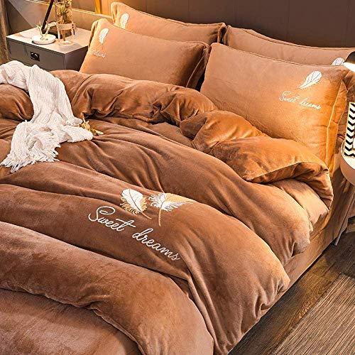 Double Teddy Bear Fleece Bedding Set,Pure Color Velvet Bedding Sets, Fleece Flat Sheet Duvet Cover Sheet Double King size 4pcs for men women bedroom-Purple 1 220 * 240cm(4pcs)