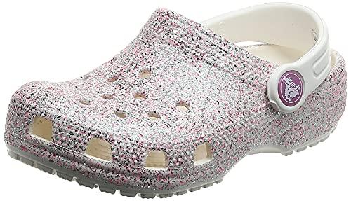 Crocs Classic Glitter Clog K Unisex - Bambini Classic Glitter Clog K, Zoccoli, Bianco (Oyster), 22/23 EU