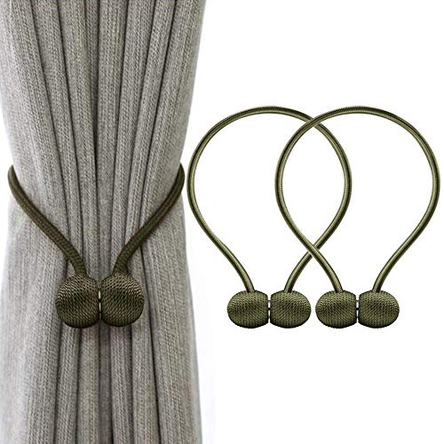 yueyue947 Cortina magnética Clips de Cortina Buck Les Holdbacks Encuadernación Tejido Tie Band 2 Piezas para Oficina en casa Decorativo Verde