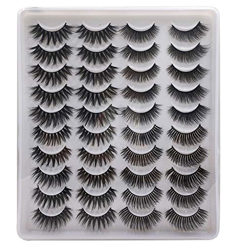 Mix Style 20 Pairs False Eyelashes Fake Eyelashes Long, Thick, Curly, Dramatic, Natural Volume Eyelash Extensions 3D Makeup Kit (02)