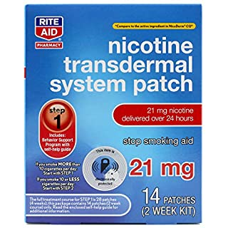 Rite Aid Nicotine Patches - Step 1 | 21 mg - 14 Count | Quit Smoking Patches | Smoking Aid to Help Quit Smoking | Nicotine Transdermal System Patch (B01MYH5W17) | Amazon price tracker / tracking, Amazon price history charts, Amazon price watches, Amazon price drop alerts