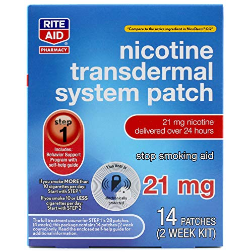 Rite Aid Nicotine Patches - Step 1 | 21 mg - 14 Count | Quit Smoking...
