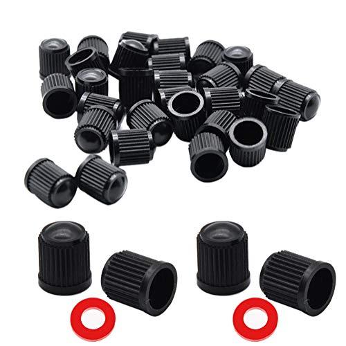 Kunststoff Reifenventilkappen, 30 Stück Schwarz Staubschutzkappen Reifen Rad Autoventil Kappe mit Dichtring für Auto SUV Fahrrad Motorrad Schraubverschluss