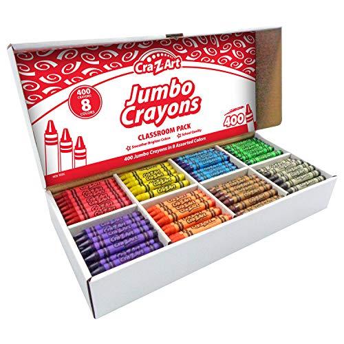 Cra-Z-Art Jumbo Crayon Bulk Class Pack 400ct 8 Assorted Colors