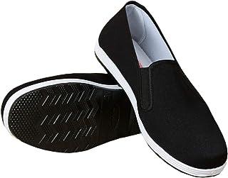 Pantoufles de Style Chinois Kung Fu Arts Martiaux Chaussures de Tai Chi Semelle en Caoutchouc Unisexe Noir