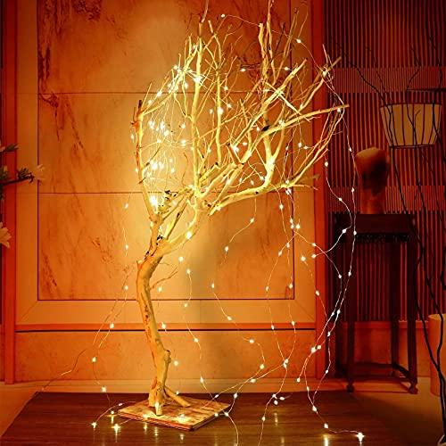 picK-me Solarbetriebene Twinkle-Lichterketten, 10 Stränge 200 LEDs 8 Modi, wasserdichte Lichterketten Dekorative Silberdraht-Wein-Solarleuchten für Außenbereich, Garten, Weihnachtsbaum (Warmweiß)