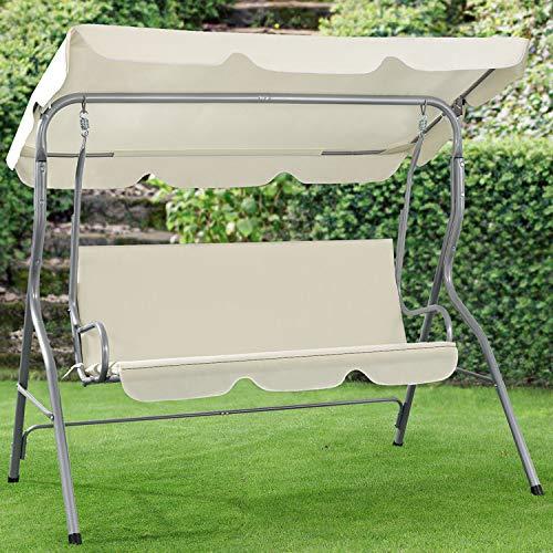 ArtLife Hollywoodschaukel 3-Sitzer mit Dach & Sitzauflage – Gartenschaukel 200 kg belastbar – Schaukelbank für Garten & Terrasse - beige