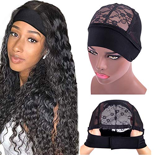 Alileader Medium Headband Wig Cap for Wig Making,Adjustable Velcro Wig Grip Cap,Lace Wig Cap with Great Elastic Band Suitable for 22-23 Inches Head (Black M)