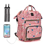 Diaper Bag Backpack, LEQUEEN Multifunction Travel Back Pack Maternity Baby Changing Bags (Pink)
