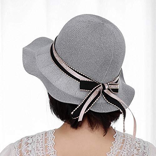 TIEDAN Sombrero de Pescador Femenino Primavera y Verano en el Nuevo Sombrero de Sol Salvaje-Cinturón Negro Gris Claro_Ajustable