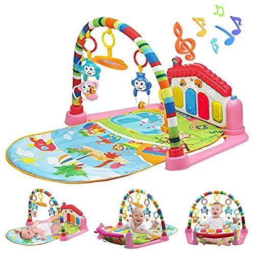 WYSWYG Baby Gym Play Mats para Floor, Kick and Play Piano Gym Centro de Actividades con música, Luces y Sonidos Juguetes para bebés y niños pequeños de 0 a 6 años 12 Meses (Pink House)