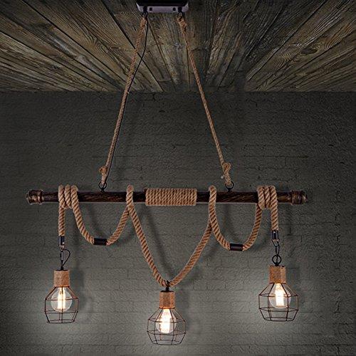 BAYCHEER Vintage Seil Industrielampe Kronleuchter Deckenleuchten LED Glühlampe Lampenfassung E27 Hängeleuchte mit 3 Fassung