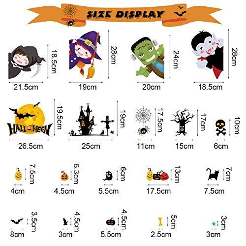 Tuopuda Halloween Decorazioni Adesivi per Finestre Vetrine Gatto Pipistrello Fantasma Vetrofanie Raccapriccianti Halloween Sticker Accessori Halloween per Halloween Party Festival Fantasma