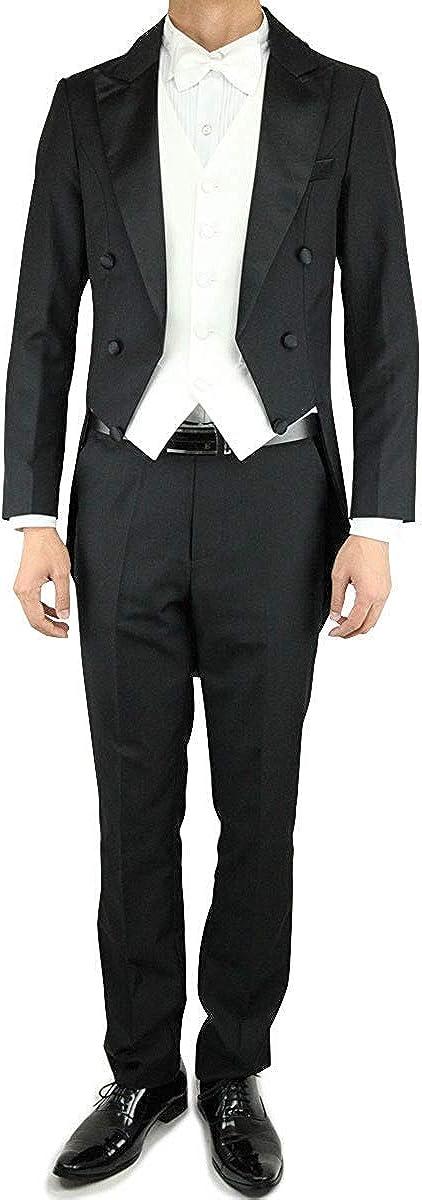 Wonder Stage Men's Slim Fit 4 Pc Black Tailcoat Suit Jacket Pants Vest Bowtie