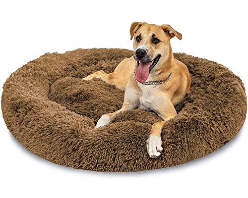 LINRUI XXXL Waschbar Grosse Hunde Hundebett Orthopädisch XL Rund Donut Hundebetten für Mittlere große Hunde Kuscheliges Antistress Hundekissen Oval Rund Kuschelig Hundehöhle XXL Braun
