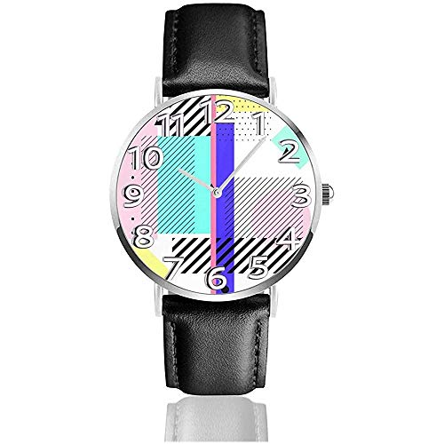 Lustige 80er Jahre 90er Jahre Retro Neon Yellow Square Uhren langlebig PU Leder Armbanduhr Leben Stille Quarzuhr