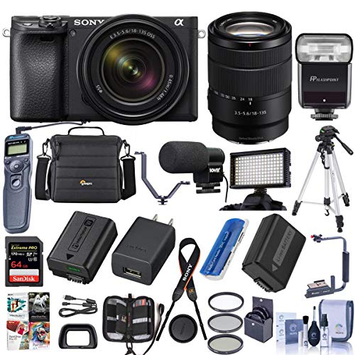 Sony Alpha a6400 24.2MP Mirrorless Digital Camera with 18-135mm f/3.5-5.6 OSS Lens - Bundle with 64GB SDXC U3 Card, Camera Case, Tripod, Trigger, Video Light, Shotgun Mic, Software Package and More