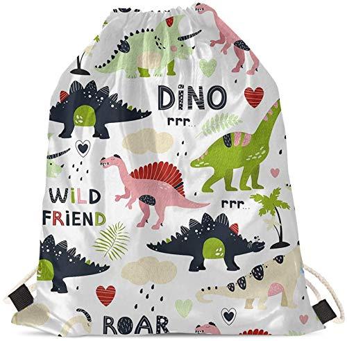 Seanative - Mochila con cordón, diseño de dinosaurio, diseño de dinosaurio, diseño de animales