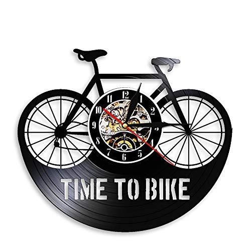 Gtllje Hora de Andar en Bicicleta Reloj de Pared Reloj de Vinilo Vintage Reloj de Pared Negro Bicicleta Art Deco 3D Reloj de Pared decoración 30x30 cm