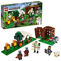 Put Minecraft action and creative building in kids' hands with this Minecraft rescue adventure that brings the game's Pillagers and Iron Golem to life in a customizable 3-section LEGO Minecraft playset! Players can blast open the Minecraft cage to re...