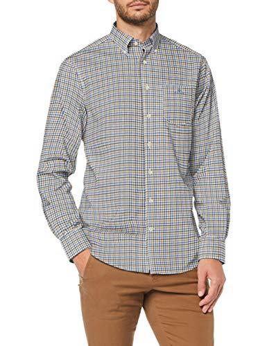 GANT The BC 3 Col Gingham Reg BD Camisa, Azul Fuerte, M para Hombre