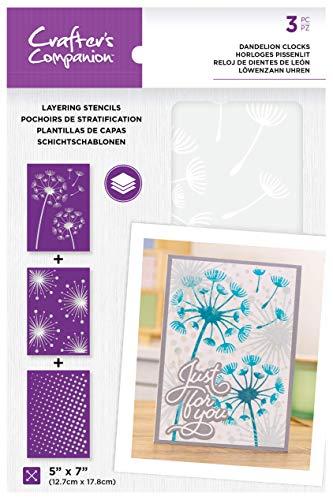 Crafters Companion CC-STEN-DAN Crafter\'s Companion – 12,7 x 17,8 cm Layering Floral Schablonen – Löwenzahn Uhren, durchsichtig, 13 x 18 cm