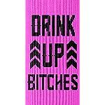 Twisted-Wares-Bottle-DRINK-UP-BITCHES-Funny-Wine-Gift-Pink-Black-Bottle-Holder-9-x-9