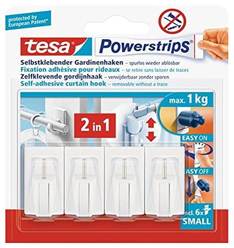Tesa Powerstrips Crochets de Fixation Auto-Adhésifs SMALL Pour Rideaux et Store d'une Charge Jusqu'à 1 kg – Amovibles et Réutilisables – Pour toute la Maison