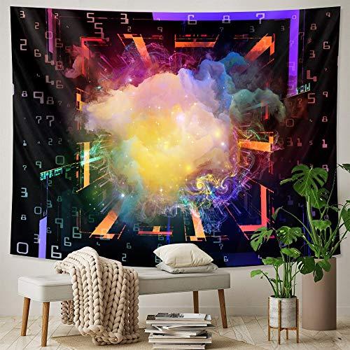KHKJ Space Planet Escena psicodélica Arte del hogar Tapiz Decorativo brujería Tapiz Hippie Decorativo Mandala Tapiz A2 200x180cm