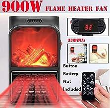 SADDPA 900W Mini eléctrico de Toma de Pared de la Llama del Calentador de Aire cálido con Control Remoto PTC Estufa de cerámica Radiador Pared Fan del hogar (Color : Black, Plug Type : EU)