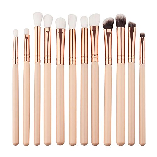 Isuper Maquillage Mini Yeux Maquillage Pinceau Maquillage Pinceau Maquillage Pinceau Powder Foundation Eyeliner Lèvres Cosmétique Pinceau 12 Pièces