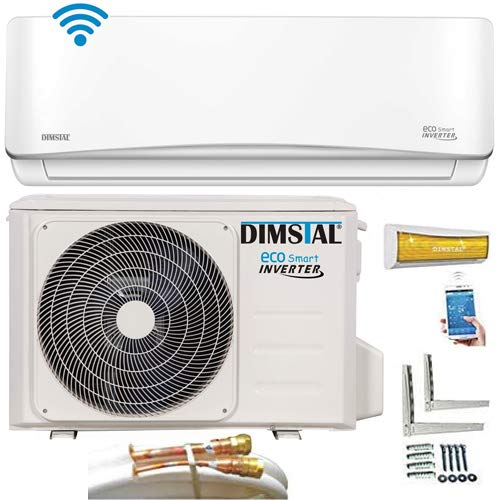 Quick-Connect INVERTER Split Klimaanlage mit Wärmepumpe 3,2kW Klimagerät ECO Smart WiFi/WLAN komplett Set inkl. 5m Kupferleitungen mit Heizfunktion