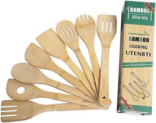 Jilla-hla Wooden Spoons for Cooking, 8 Piece Set, Bamboo Cooking Utensils, wooden kitchen utensils for cooking, Wooden Spoons & Spatula