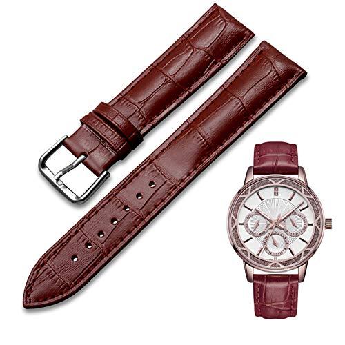 MHwan correa de reloj de cocodrilo, Correa de piel 20mm, Correa de reloj suave de repuesto de cuero genuino impermeable de 20 mm para hombres y mujeres, 2 piezas