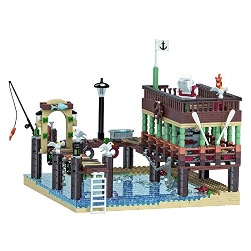 Leic Technic Fish House Pier Model 1394Pcs Building Blocks MOC 3D Street View Architecture DIY Assembly Educational Model Compatible with Lego