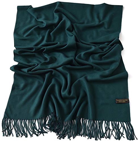 CJ Apparel Teal Green Thick Solid Colour Design Cotton Blend Shawl Seconds Scarf Wrap Pashmina NEW(Size: One Size)