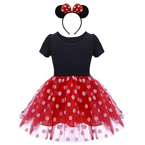 Obeei - Vestido de lunares para niña, vestido de princesa para Navidad, Halloween, carnaval, fiesta, ceremonia de Año Nuevo, 1-6 años 001 Rosso 5 años